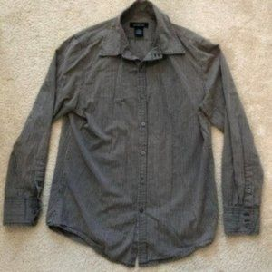 Calvin Klein Jeans Brown Striped Collar Shirt